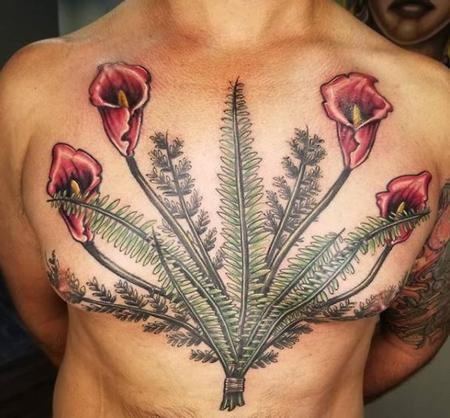 Tattoos - Cody Cook Ferns and Flowers - 139858